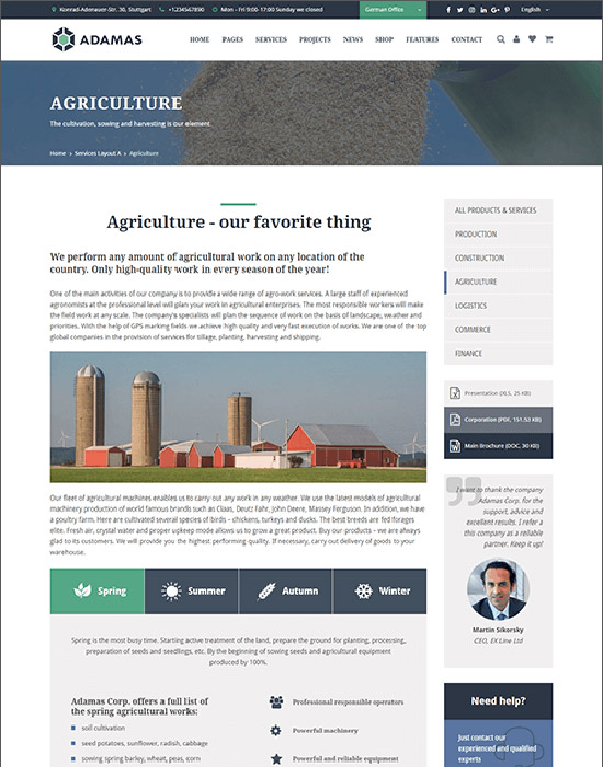 Agriculture company website example