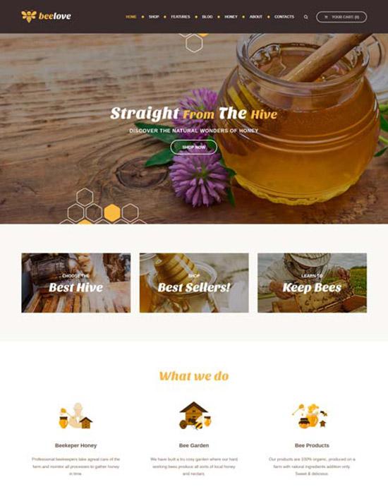 Honey shop website example