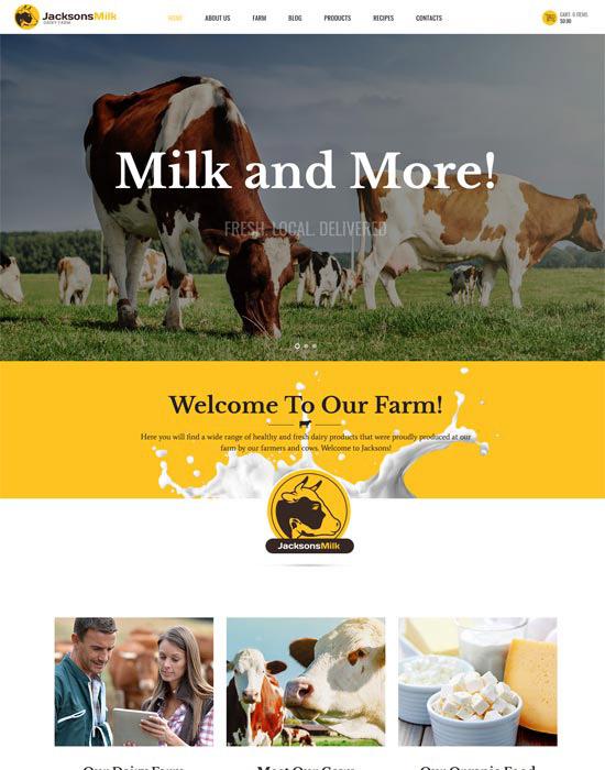 Milk farm website example