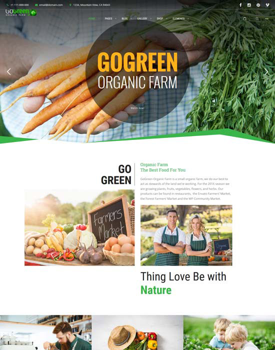 Organic food farm website example