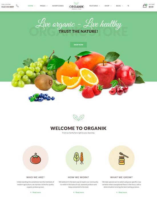 Organic store website example