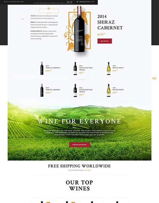 Wine house website example